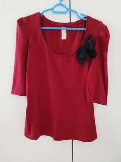 Zara Red Blouse with black ribbon