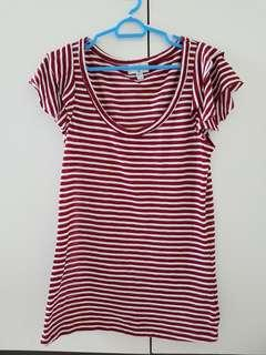 Flutter sleeves Top in red and white stripes