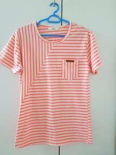 Neon pink and white striped top