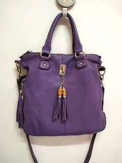Purple Genuine Soft Leather Sling Bag.Made ln Korea