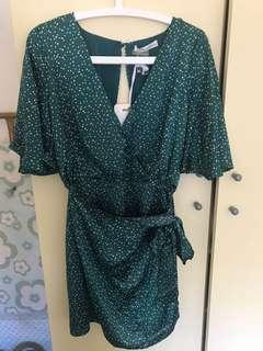 Wrap green polka dot dress size 10