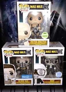 🚚 Mad Max Fury Road Rictus Erectus, Blood Bag & Nux Funko Pop Bundle