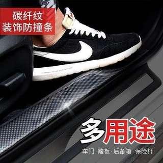 🚚 🔴汽車門檻條 通用改裝踏板裝飾條碳纖紋保險杠後備箱車門邊防撞貼