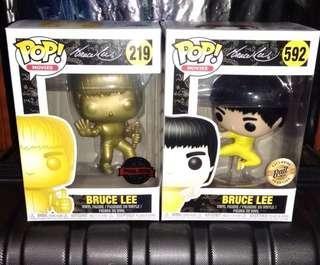 🚚 Bruce Lee Enter the Dragon Gold & Yellow Kicking Funko Pop Bundle