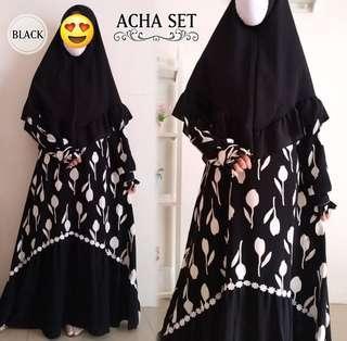 2 tones jubah with khimar set