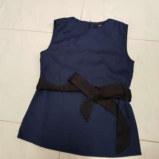 🚚 [CLEARANCE] MDS Navy Blue Top with Wrap Belt