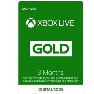 3 month Xbox Live Gold subscription Xbox one