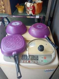 ♤名誠傢俱辦公設備冷凍空調餐飲設備♤瑞士MONCROSS絢麗紫鈦石鍋具組 炒鍋 鍋蓋 湯鍋 方煎鍋 鍋子
