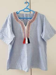 Embroidered Top in blue and white stripes