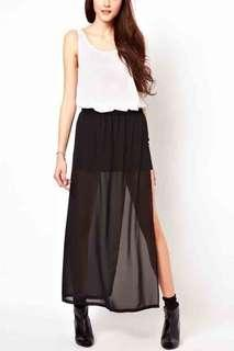 H&M SHEER MAXI SKIRT WITH SLITS