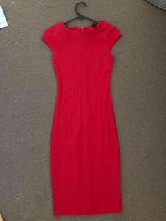 Simple Red Bodycon Dess