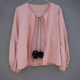 Pink Pastel Outerwear Pompom