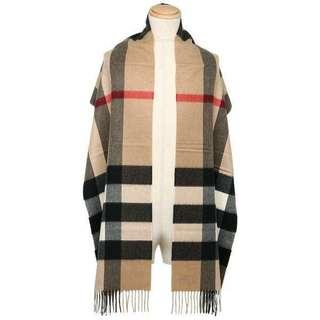 🚚 正全新burberry經典款大款羊絨圍巾駝色(喀什米爾羊毛披肩
