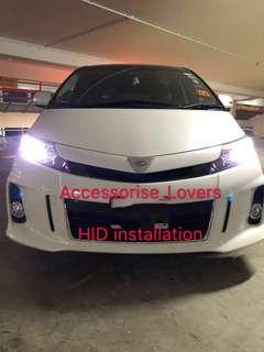 Hid installation on Toyota estima .     installation Suitable for Nissan Toyota Vios Altis Camry Volkswagen scirocco Jetta Golf Passat Mercedes c200 c180 Honda Civic Crossroad mazda 3