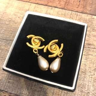 Authentic Chanel CC Turnlock Pearl Earrings