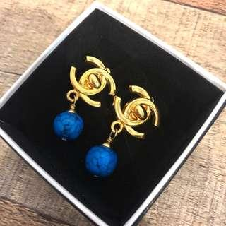 Authentic Chanel Earrings w Blue Marbelled Gem Beads