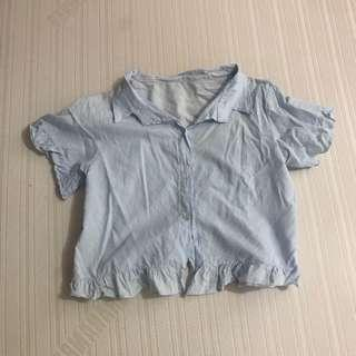LIGHT BLUE BUTTON DOWN POLO CROPTOP FITS S