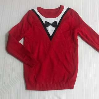 RED KOREAN LONGSLEEVE KNITTED SWEATER FITS S-M