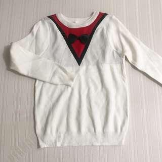 WHITE KOREAN LONGSLEEVE KNITTED BOW SWEATER FITS S-M