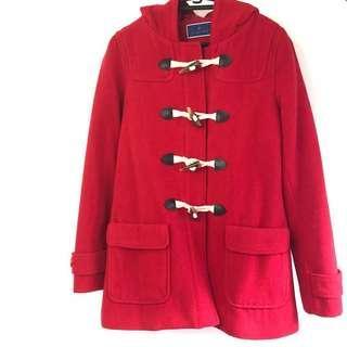 The Emporium 紅色牛角連帽外套 經典英倫風小紅帽 拉鏈勁靚細節象牙色牛角大衣 罕見顏色 #跟我一起半價出清