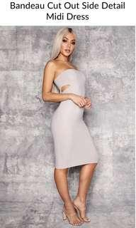 Grey Bandeau Side Cut Out Midi Dress
