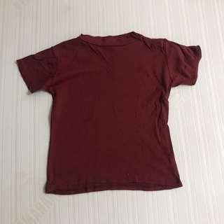 MAROON RIBBED TOP FITS S