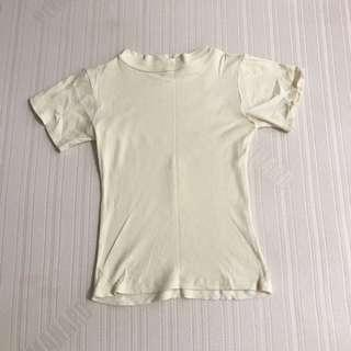 CREAM RIBBED TOP FITS S