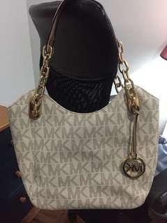 Michael Kors White Logo Canvas Bag