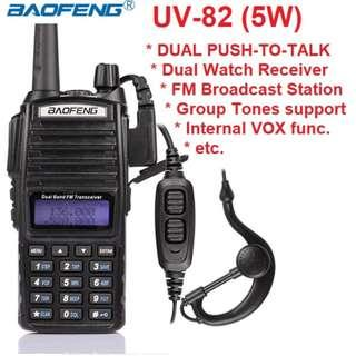 🚚 CNY sale, $69 only! BAOFENG UV-82 UV82 UV 82 DUAL BAND (VHF/UHF) DUAL PUSH-TO-TALK ANALOG PORTABLE TWO-WAY RADIO 136-174MHZ & 400-520MHZ 128 channels 5W Export set