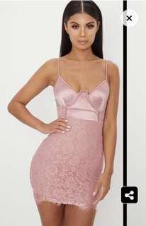 PLT pink mini lace dress
