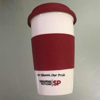 Thermal Porcelain Cup with Silicone Lid Singapore Polytechnic SP Alumni