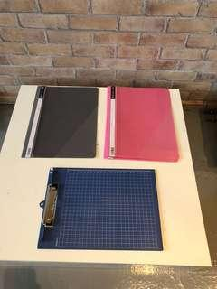 A4 pink grey plastic file & Blue clipboard file with measurements
