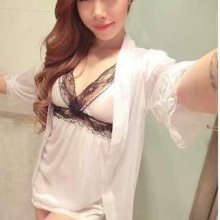 🚚 *Ready SG stock* Innocent angel 3pcs white lingerie robe set