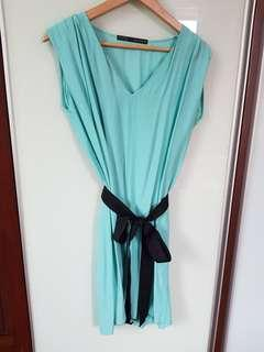 Pre💛 Zara Turquoise Dress with ribbon belts