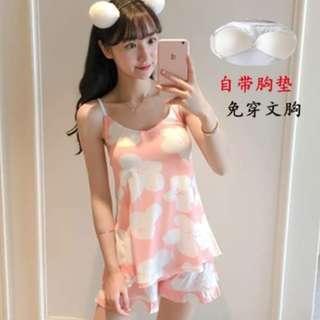 🚚 *SG Ready Stock* Sweet flowers pink padded 2pcs pyjamas shorts set nightwear homewear casual 1