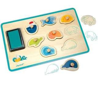 BN Brand New Janod Ocean Rubber Stamp Stamps with Ink Pad Gift Box