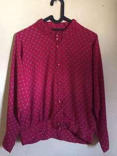 📌SALE blouse merah maron polkadot