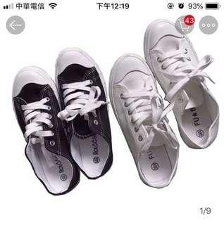 [全新轉37號]女生帆布鞋 平底鞋 餅乾鞋 黑色帆布 休閒Converse