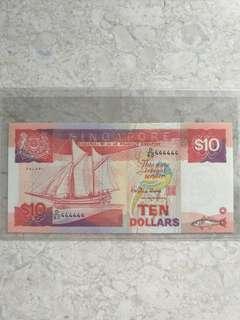 D/60 444444 SINGAPORE $10 SHIP GOLDEN SOLID S/N UNC