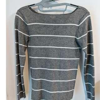 Grey and White Striped Sweater Top - Size : S