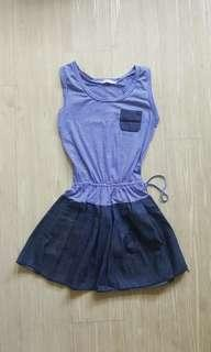 [BN] Stripped Dress with Soft Denim Bottom