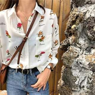 Renee Floral White Blouse Top