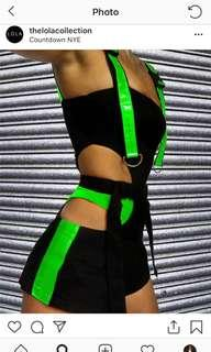 The Lola Collection green and black reflective shorts