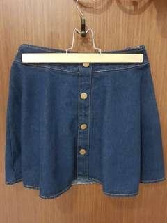 🚚 Dark Blue Denim A-Line Buttons Skirt