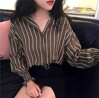 Ariel Long Sleeve Stripes Blouse Top