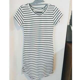 White and Black Striped T-Shirt Dress - Size : XS/S