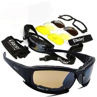 🆕🆒Polarized Army Sunglasses, Military Goggles 4 Lens Kit, War Game Tactical Men's Glasses