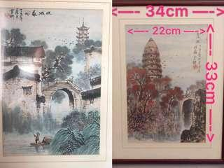 2 for $50 Vintage Chinese ink painting on paper