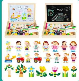 Creative Magnetic puzzle cum drawing board - people