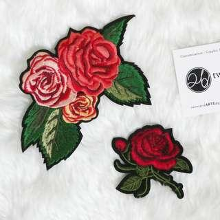 Iron On Patch | Rose Series, Red Roses